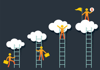 Success Climber with Ladder to Cloud