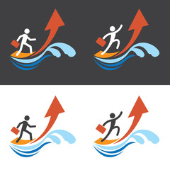 Man Surf on Arrow to Success Concept