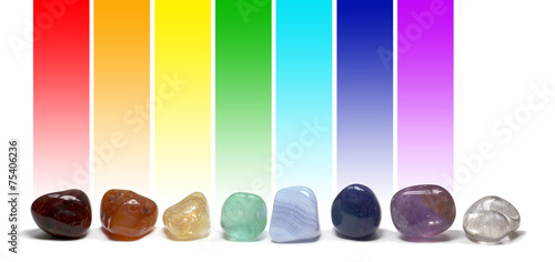 canvas print picture Chakra Healing Crystals Colour Chart