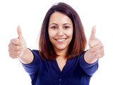 Portrait of a young beautiful woman showing thumbs up, isolated