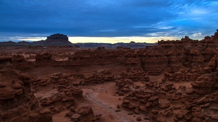 Bird's eye view of the Goblin Valley at Sunset with colorful sky