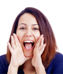 Young woman shouting, isolated on a white background