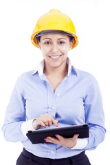Female engineer holding a tablet computer, isolated on white bac