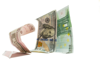 Russian currency ruble standing knees before dollar euro