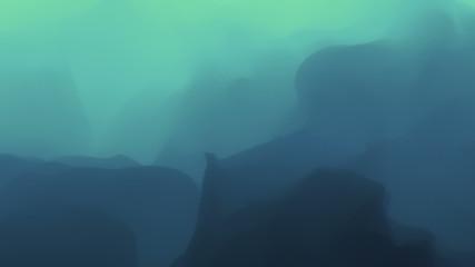 3D Looping Background - Blue rolling fog & mist