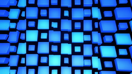 3D Looping Background - Glass panels on blue cubes