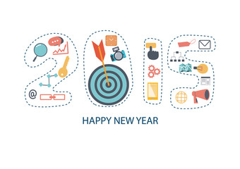 Flat design 2015 new year icons set of website SEO optimization