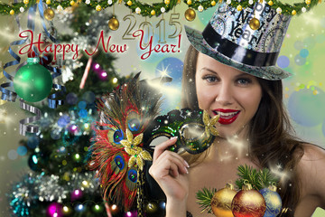 Happy New Year postcard. Wallpaper Template