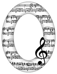 Music Notes Oval Picture Frame, treble clef, copy space