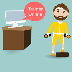 Male are training fitness with Trainer Online