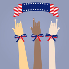 many colored people's hands with USA's flag
