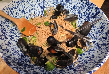 Traditional Italian Seafood Meal with Mussels and Pasta