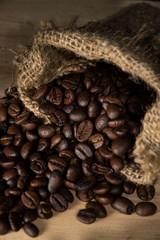 Coffee beans in gunny sack