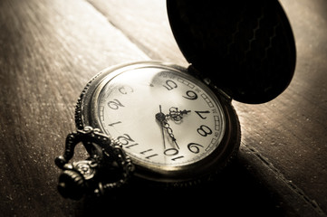 Sepia color filtered of pocket watch.