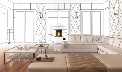 Suite with Fireplace (drawing)