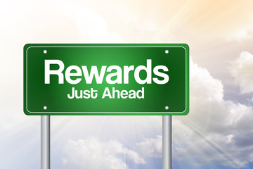 Rewards Green Road Sign, business concept