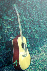 Vintage filtered acoustic guitar in garden.