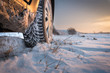 canvas print picture - Winter tires in snow