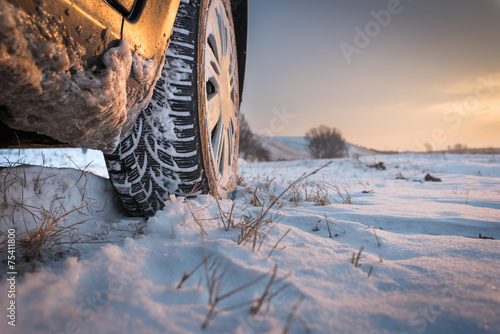 canvas print picture Winter tires in snow
