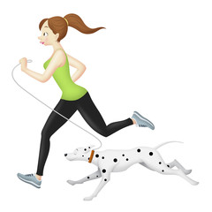Jogger Girl With Dog