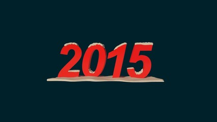 New Year 2015 with snow loop rotation animation
