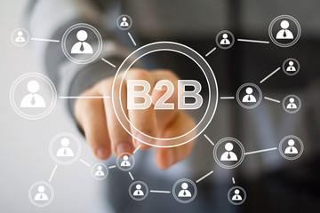 Businessman pressing web b2b icon sign