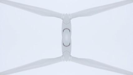 Windrad gespiegelt vor weißem Hintergrund