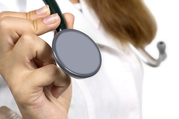 stethoscope on the neck of a woman doctor