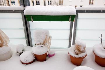 snow on  balcony