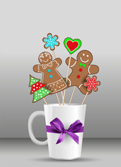 gingerbread on the cup for Christmas