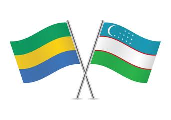 Uzbek and Gabon flags. Vector illustration.