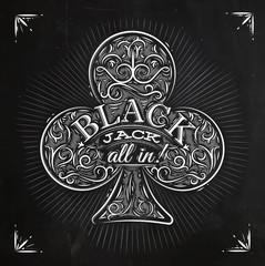 Clubs black jack chalk