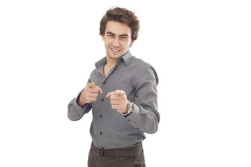 Young man pointing on you