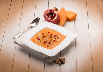pumpkin soup with pomegranate