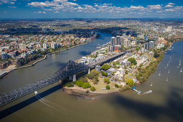 Kangaroo Points suburb of Brisbane from the air