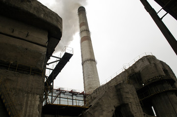 power station with smoke stack