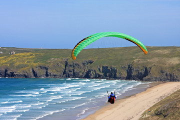 paraglider at Perranporth