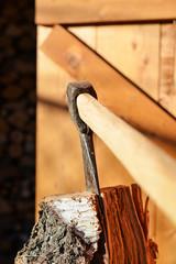 Ax in birch stump