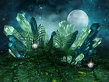 Magiczne kryształy na łące na tle księżyca