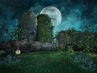 Drzewa i skały na zielonej łące nocą