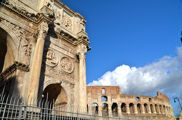 Triumphal Arch of Constantine and Coliseum in Rome