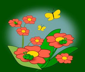 Flowers, Caterpillars and Butterflies