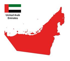 united arab emirates map with flag