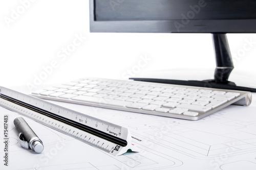 Leinwanddruck Bild Maßstab Kugelschreiber Tastatur