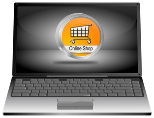 Laptop mit Online Shop Button