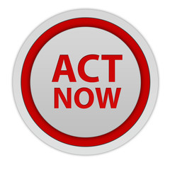 Act now circular icon on white background