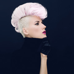 Sensual woman with fashionable hairstyle Colored hair trend