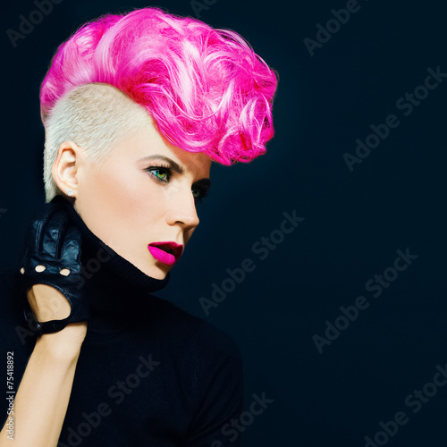 Sensual portrait lady with fashionable haircut colored hair on a - 75418892