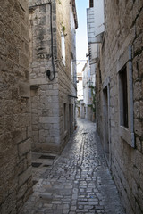 Pavement end narrow streets and courtyards  of Trogir,Croatia