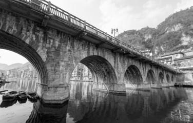 old bridge in black and white